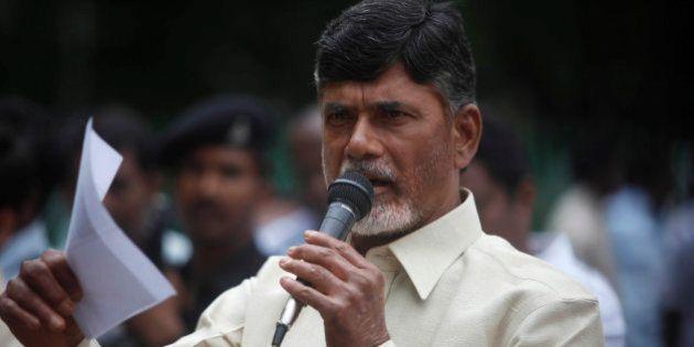 Telugu Desam Party (TDP) President N. Chandrababu Naidu speaks during a protest against the Babli Dam...