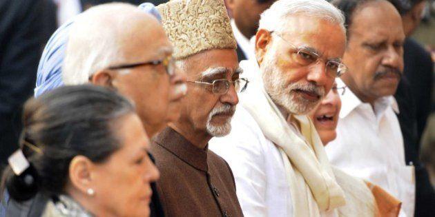 NEW DELHI, INDIA - DECEMBER 13: Prime Minister Narender Modi, Vice President Mohammad Hamid Ansari, deputy...