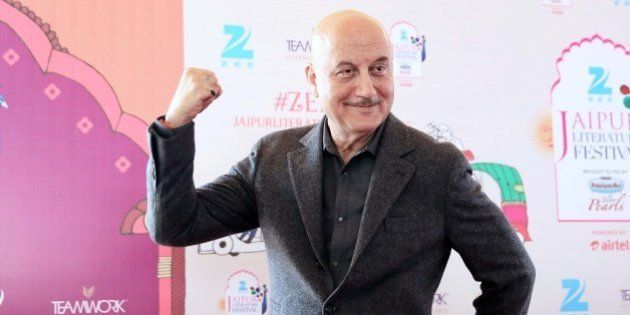 JAIPUR, INDIA - JANUARY 25: Bollywood actor Anupam Kher interacts with media persons after his name was...