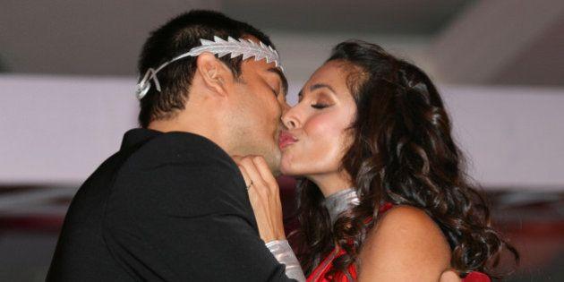 Bollywood actress and supermodel Malaika Arora Khan and actor husband Arbaaz Khan at the Ponds Relaunch...