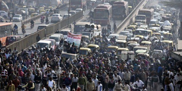 NEW DELHI, INDIA - FEBRUARY 2: Heavy traffic jam after MCD workers protest at Gokulpuri Chowk against...