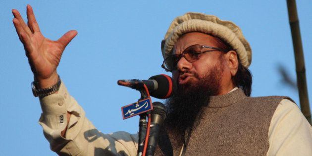 LAHORE, PUNJAB, PAKISTAN - 2015/01/18: Hafiz Saeed, head of the banned Islamic charity Jamat-ud-Dawa,...