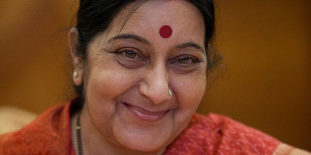 India's External Affairs Minister Sushma Swaraj smiles during her meeting with Russian counterpart Sergey...