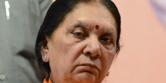 Gujarat's first woman chief minister, Anandiben Patel looks on at the Town Hall in Gandhinagar, some...