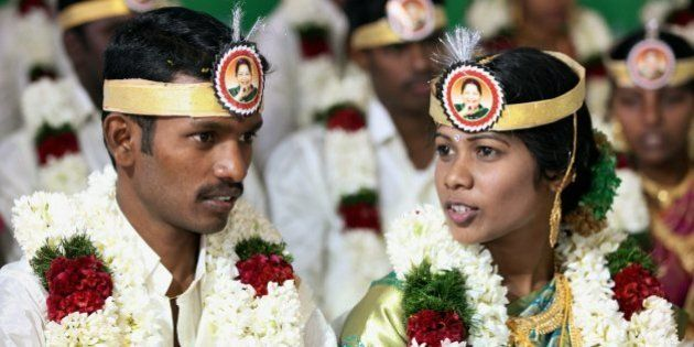 AIADMK Supporters Make Tamil Nadu Newlyweds Wear Amma-Themed
