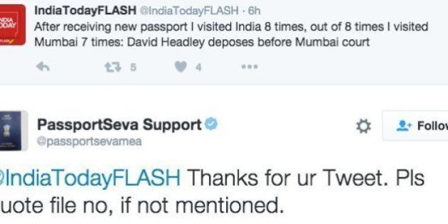 Indian Govt's 'Passport Seva' Twitter Account Can't Seem To Stop Asking People For David Headley's File