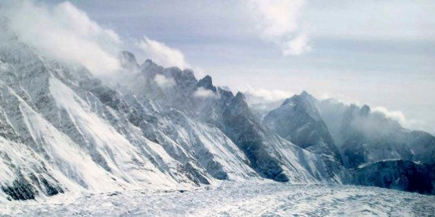 FILE - This Feb. 1, 2005 file photo shows an aerial view of the Siachen Glacier, which traverses the...