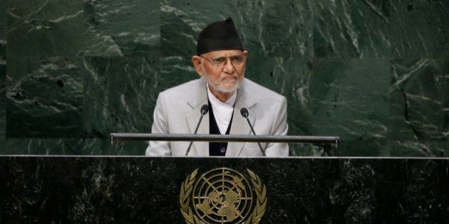 Sushil Koirala, prime minister of Nepal, addresses the 69th session of the United Nations General Assembly...