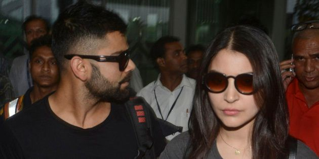 KOLKATA, INDIA - APRIL 6: Bollywood actress Anushka Sharma and Indian cricketer Virat Kohli arrive at...