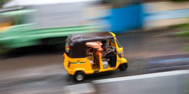 Yellow auto flying through the