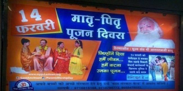 Rape-Accused Asaram Bapu's Followers Are Putting Up Anti-Valentine's Day Posters Across Delhi