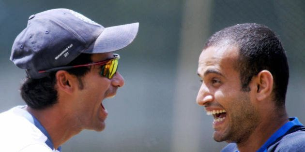 Bangalore, INDIA: Indian cricketer Mohammed Kaif (L) enjoys a light moment with teammate Irfan Pathan...