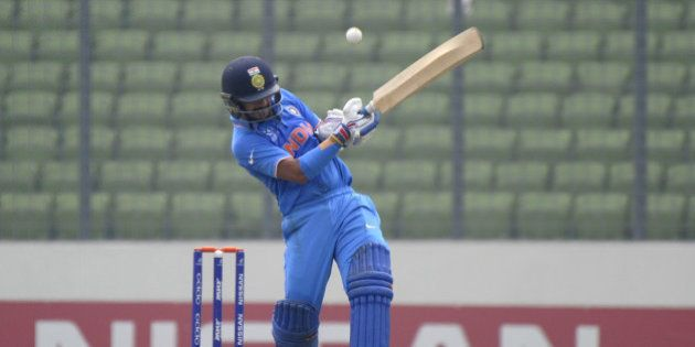 DHAKA, BANGLADESH - FEBRUARY 09: Anmolpreet Singh of India bats during the ICC U19 World Cup Semi-Final...