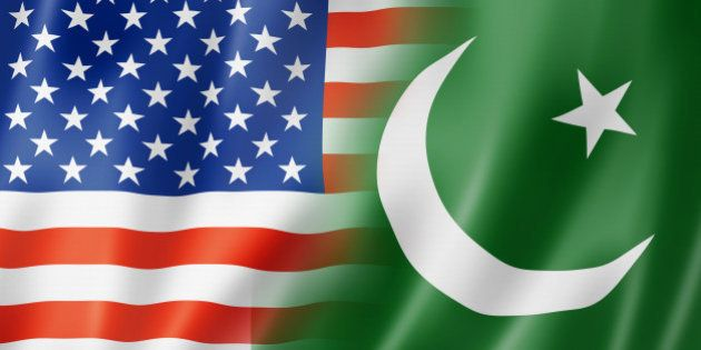 Mixed USA and Pakistan flag, three dimensional render,