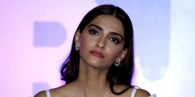 Indian Bollywood actress Sonam Kapoor poses during the launch of the trailer of the forthcoming biopic...