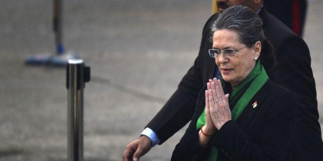 NEW DELHI, INDIA - JANUARY 29: Congress President Sonia Gandhi arrives for Beating Retreat ceremony,...