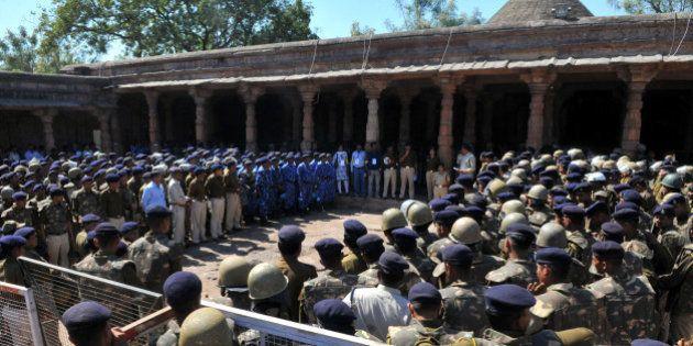 DHAR, INDIA - FEBRUARY 11: Heavy police forces deployed at Bhojshala premises on February 11, 2016 in...