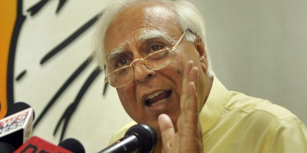 NEW DELHI, INDIA - APRIL 16: Congress leader Kapil Sibal addressing the media persons about the expenditure...