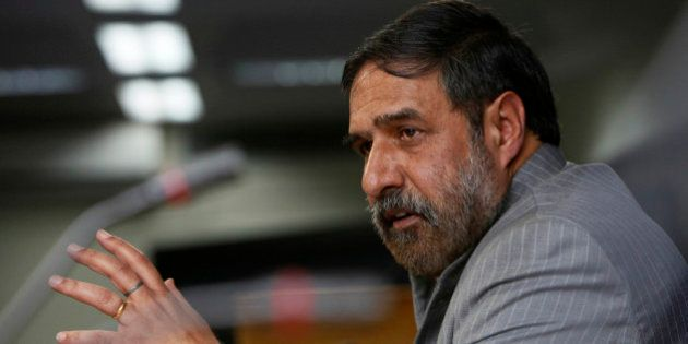 Indian Commerce Minister Anand Sharma addresses a press conference in New Delhi, India, Friday, Nov....