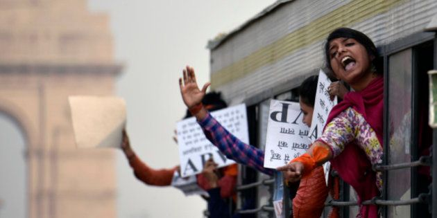NEW DELHI, INDIA - FEBRUARY 12: ABVP members shout slogans as they are detained by police during their...