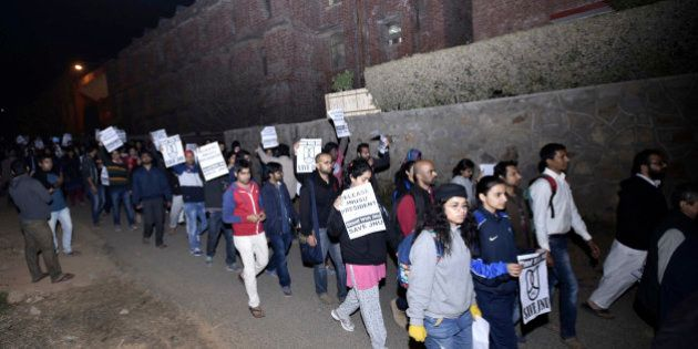 NEW DELHI, INDIA - FEBRUARY 12: JNU teachers and students protest march inside JNU Campus against arrest...