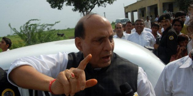 ALIGARH, INDIA � AUGUST 16: BJP leader Rajnath Singh meets the farmers during a demonstration demanding...