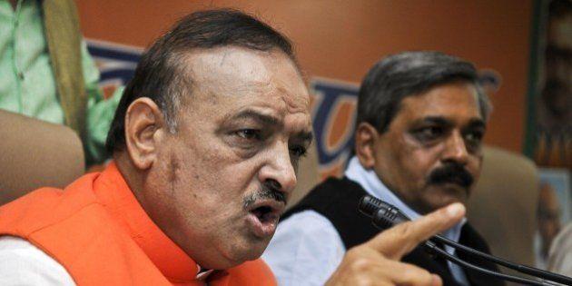 NEW DELHI, INDIA - NOVEMBER 25: BJP Delhi Unit President Satish Upadhyay with BJP MLA OP Sharma during...
