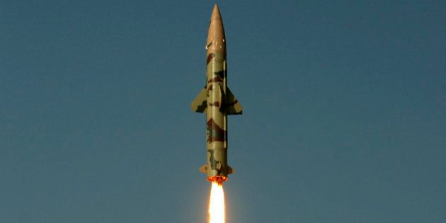Surface-to-surface missile Prithvi II takes off from Chandipur in Orissa state, India, Wednesday, Dec....