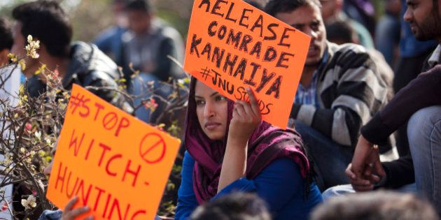An Indian student holds a placard demanding the release of student leader Kanhaiya Kumar during a protest...