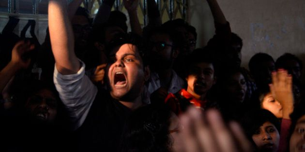 KOLKATA, WEST BENGAL, INDIA - 2016/01/08: Jadavpur University student stage a sit in protest against...
