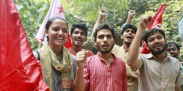 NEW DELHI, INDIA - SEPTEMBER 13: (L-R) AISA`s candidates Shehla Rashid Shora, Vice President, Rama Naga,...