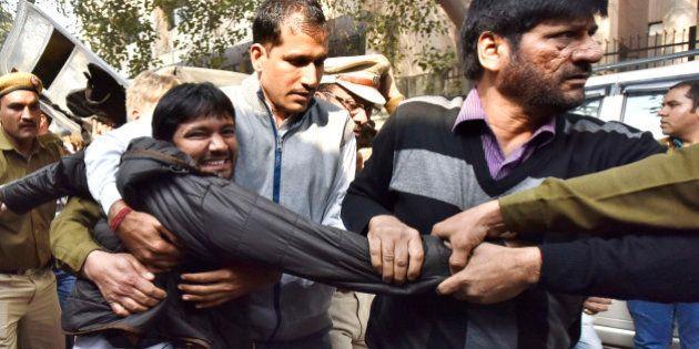 NEW DELHI, INDIA - FEBRUARY 17: JNU Students' Union President Kanhaiya Kumar being taken to Patiala House...