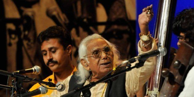 NEW DELHI, INDIA - AUGUST 11: Eminent Classical Singer Padma Bhushan Abdul Rashid Khan performs during...