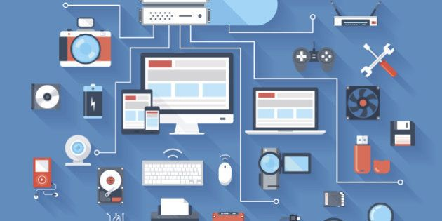 Vector illustration of hardware and cloud computing concept on blue background with long