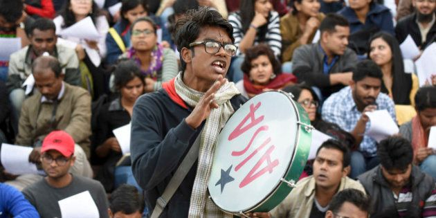NEW DELHI, INDIA - FEBRUARY 22: The JNU students having a meeting during their protest against the sedition...