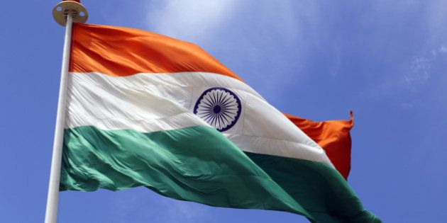 India. Jammu & Kashmir state, up in the extreme north of the country. Indian flag flying over Kargil...