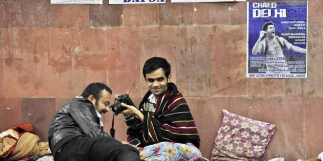 NEW DELHI, INDIA - FEBRUARY 23: JNU Student Umar Khalid at JNU Campus on night of February 23, 2016 in...