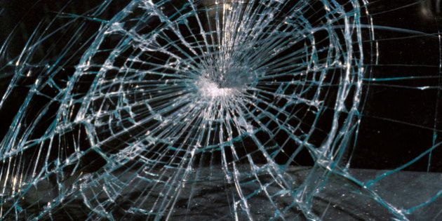 Cracked Glass Of Car