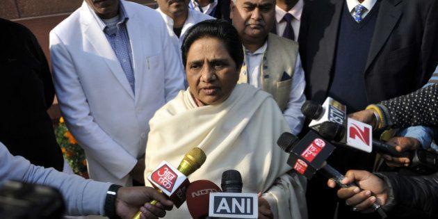 NEW DELHI, INDIA - DECEMBER 21: Mayawati Supremo BSP talking to media personnel after Rajya Sabha passes...