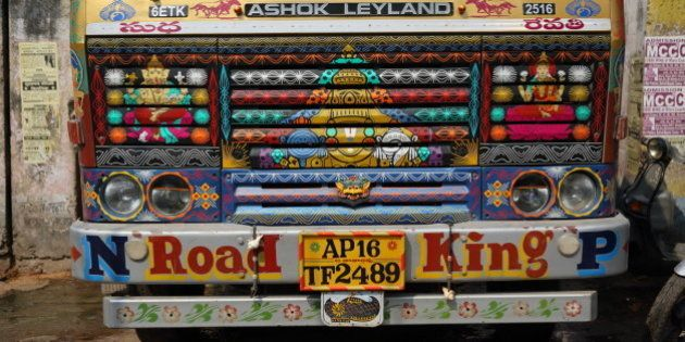 The front of a truck in Varanasi, India on October 01,