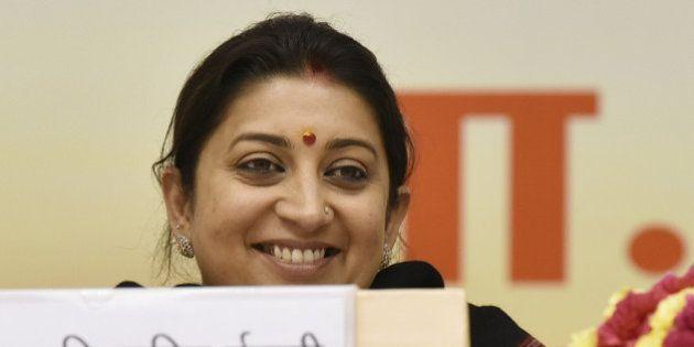 NEW DELHI, INDIA - FEBRUARY 12: Union HRD Minister Smriti Irani during the Akhil Bharatiya Prachaarya...