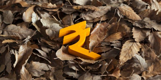 International economy money icon and currency unit on autumn