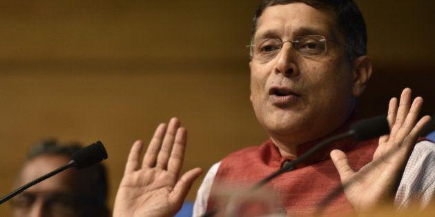 NEW DELHI, INDIA - FEBRUARY 26: Chief Economic Adviser, Ministry of Finance Arvind Subramanian, addressing...