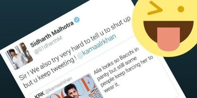 Kamaal R Khan Gets The Sickest Burn Handed To Him By Sidharth Malhotra For Insulting Alia