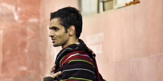 NEW DELHI, INDIA - FEBRUARY 23: JNU student Umar Khalid at JNU Campus on the night of February 23, 2016...