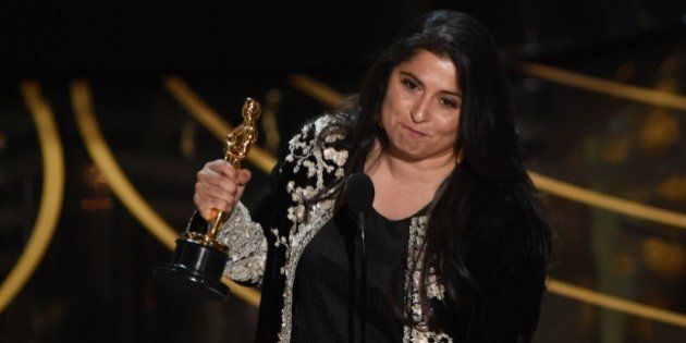 Journalist and filmmaker Sharmeen Obaid-Chinoy accepts her award for Best Documentary Short Subject,...