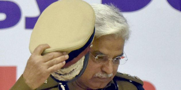 NEW DELHI, INDIA - FEBRUARY 26: Bhim Sain Bassi, Commissioner of Police, Delhi, during the launch of various smart and technological applications for policing, on February 26, 2016 in New Delhi, India. (Photo by Sonu Mehta/Hindustan Times via Getty Images)