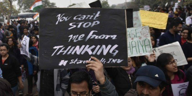 NEW DELHI, INDIA - FEBRUARY 18: JNU students took out a march in support of JNUSU president who was sent...
