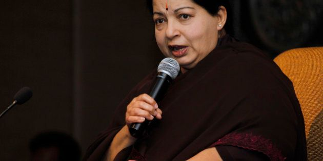 FILE - In this June 14, 2011 file photo, former chief minister of Tamil Nadu state Jayaram Jayalalitha...