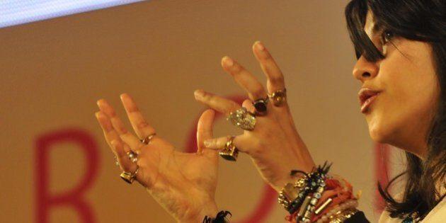 JAIPUR, INDIA - JANUARY 20: Movie and television producer Ekta Kapoor in conversation with Sidharat Dhanvant...